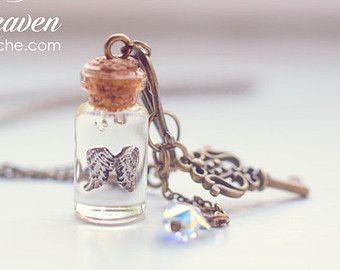 Crown jewel glass Bottle necklace. Custom diamond COLOR vial necklace.  miniature bottle charm, gift for women, queen pendant, diamond bottle