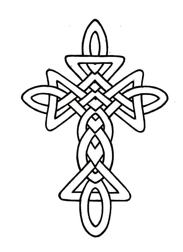 Watercolor Tattoo Morphed Celtic Cross Coloring Pages Cross
