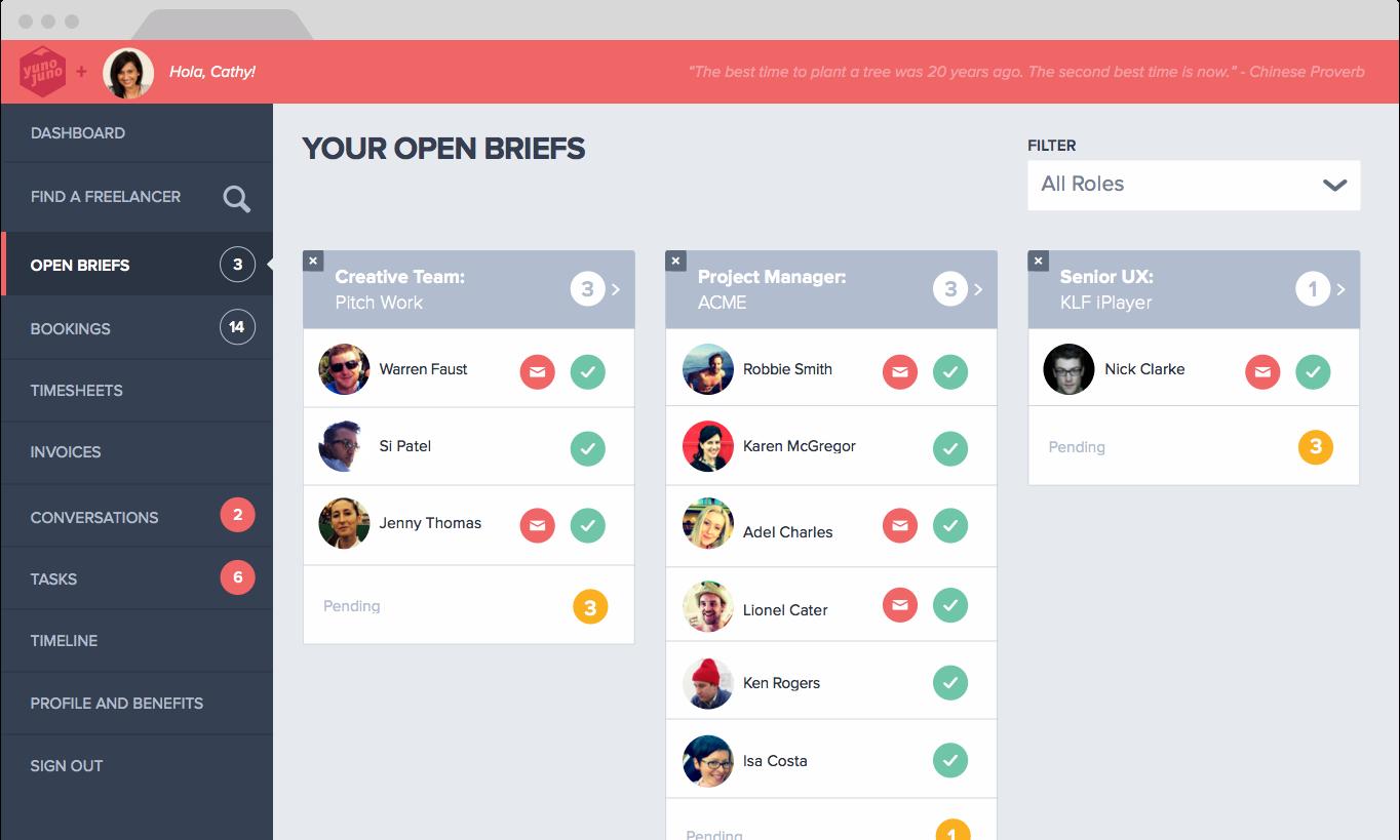 Yunojuno The Freelancer Elite Web Design User Experience Design Interface Design