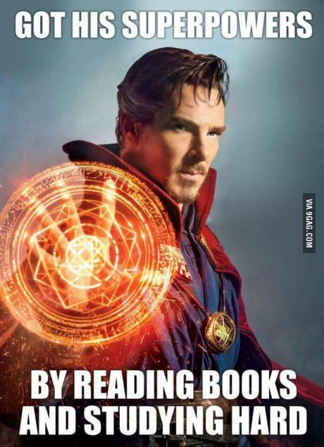 Image result for dr. strange got his powers by reading books meme