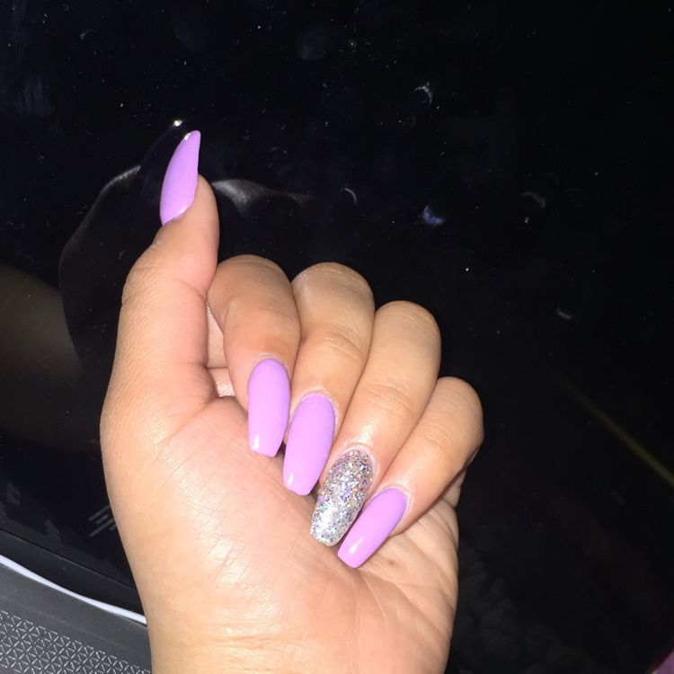 39 Acrylic Coffin Nails Designs 2019 Koees Blog Purple Glitter Nails Light Purple Nails Purple Acrylic Nails