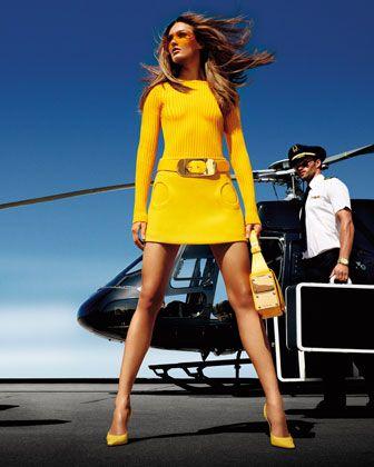 Arrive in style. Michael Kors Ribbed Wool Sweater, Crepe Circle-Pocket Skirt, Patent Oval-Buckle Belt, & Moffit Shoulder Bag.