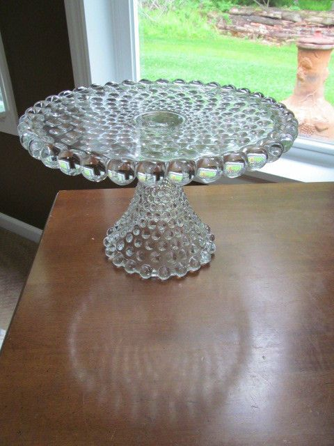 Hobnail Duncan Miller Cake Pedestal Plate Stand Clear Depression Glass : clear plate stands - pezcame.com
