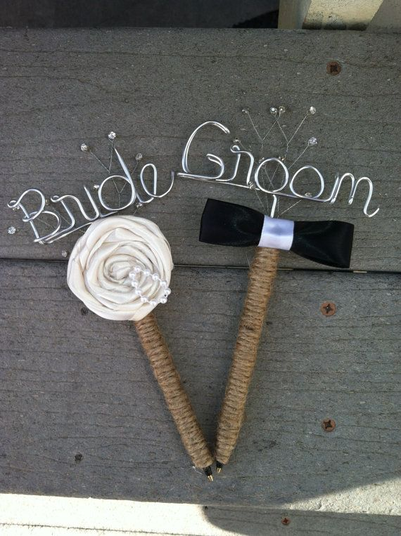 Bride And Groom Guest Book Pen Set Rustic By Bridalweddinghangers 25 00