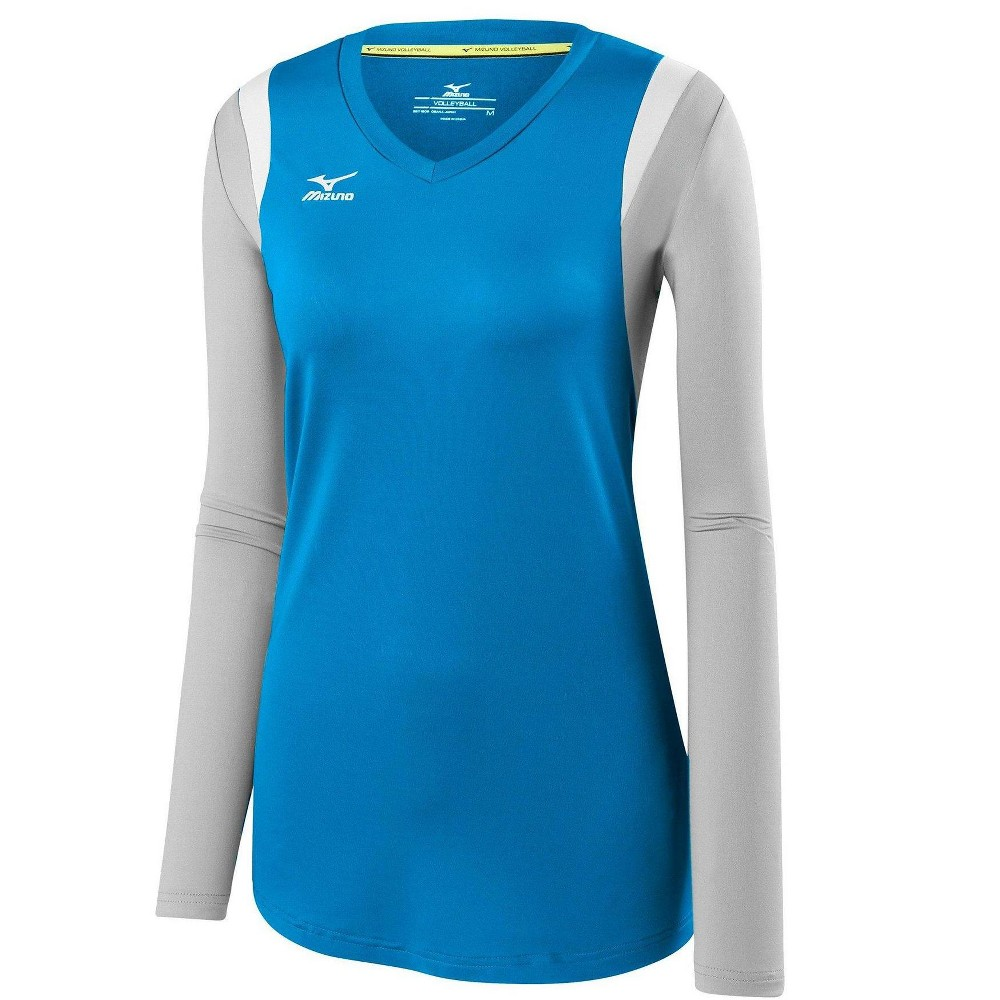 Mizuno Womens Volleyball Apparel Balboa 5 0 Long Sleeve Volleyball Jersey 440645 Size Extra Large Diva Blue Silver 5s73 Volleyball Jerseys Women Volleyball Outfits