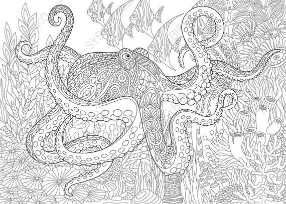 Adult Coloring Page Octopus and Fish by