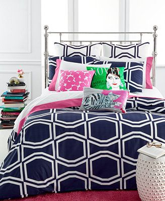 Kate Spade New York Bow Tile Navy Comforter And Duvet Cover Sets Bedding Collections Bed Bath Macy S Navy Bedding Navy Comforter Sets Navy Duvet Covers