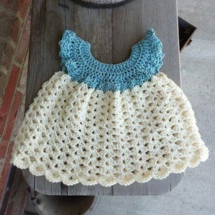 blue 0-3mo Flutter sleeve crochet dress baby girl