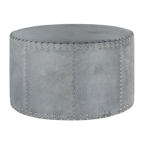 light blue ottoman. Karin Round Nailhead Ottoman Light Blue Ottomans ($325) ❤ Liked On Polyvore Featuring Home E