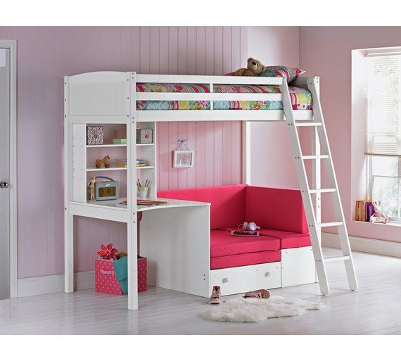bunk beds with sofa bed underneath argos room and board reese review buy home classic high sleeper frame fuchsia white at
