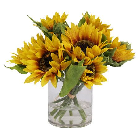 Silk Yellow Sunflowers In A Vase With Faux Water Product Faux