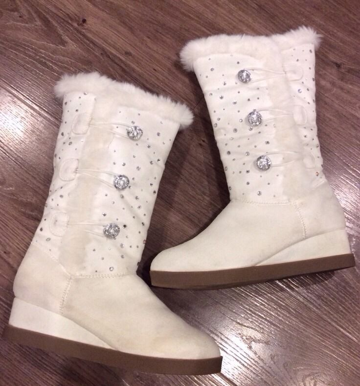 1f737f6ab Embellished Girls Boots Justice Youth Size 4 White Zip Fur Trim ...