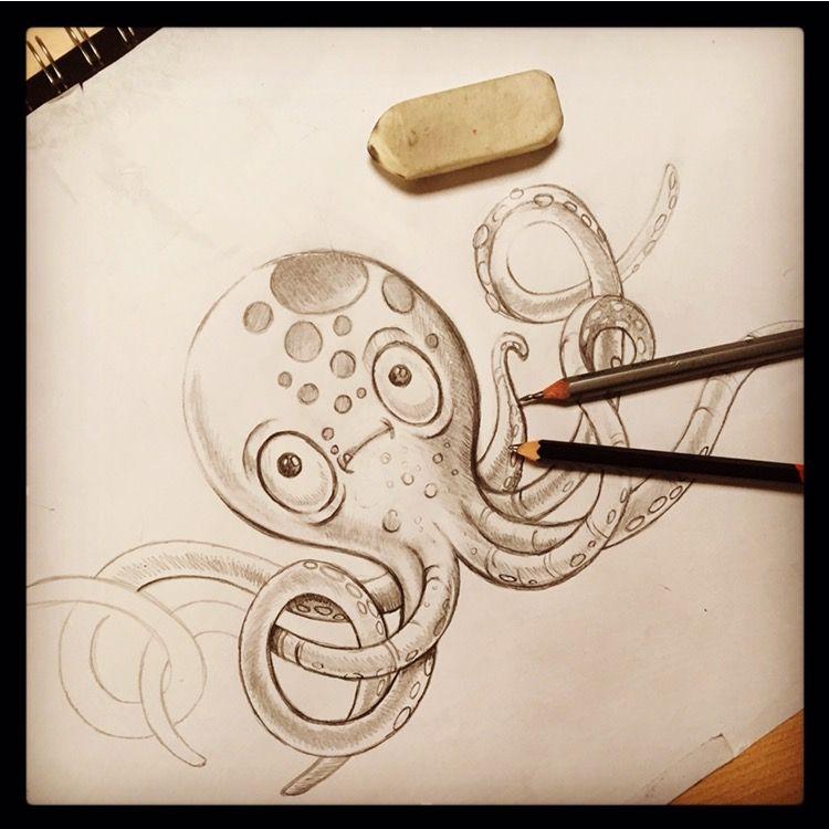 Octopus sketch, octopus art, under the sea, octopus drawing, fish ...