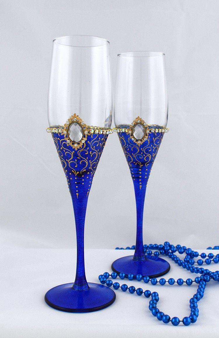 Personalisierte Bemalte Sektglaser In Kobaltblau Dekorierte Weinglaser Weinglas Kerzenhalter Glaser Bemalen