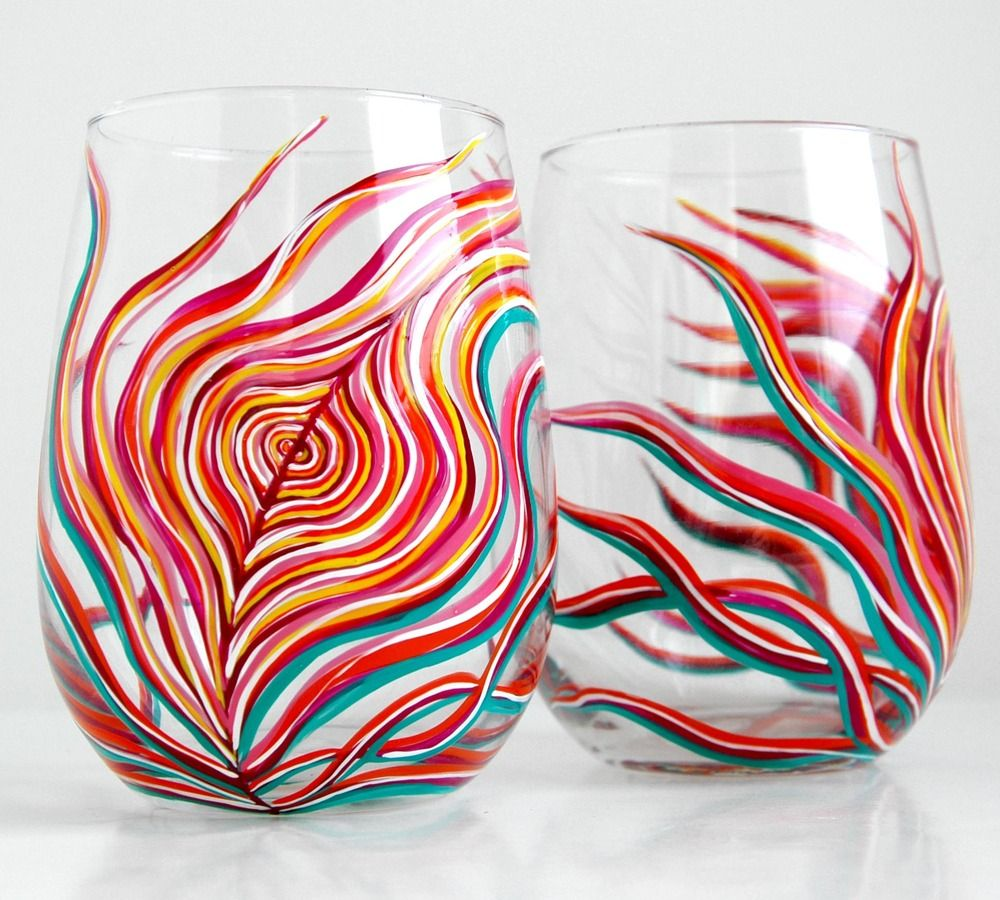 Image Of Neon Peacock Feather Stemless Glasses Set Of 2 Peacock Wine Glasses Glass Painting Hand Painted