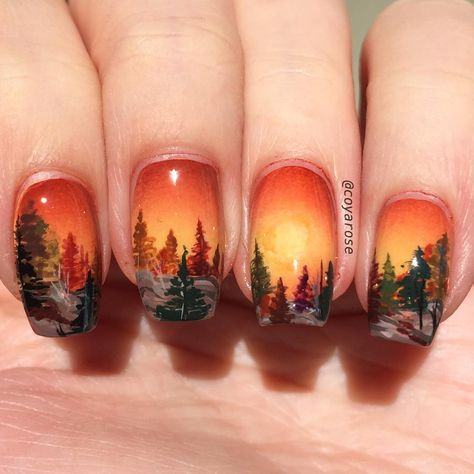Epingle Par Liliane Marais Sur Ongles Automne Nail Art Arbre