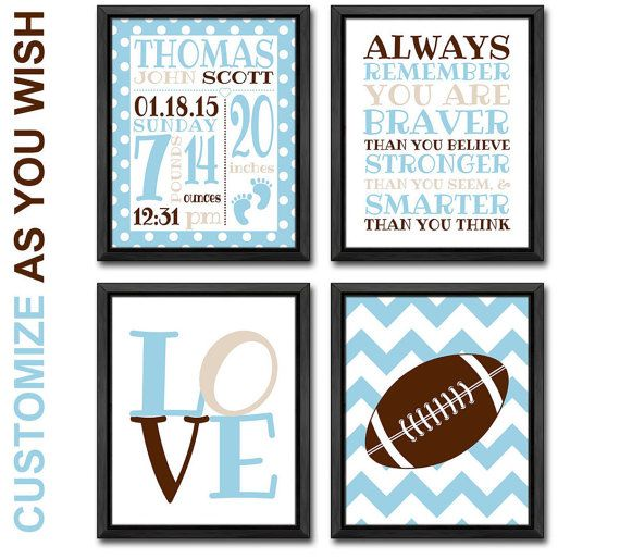 Dr seuss nursery art birth announcement sports theme baby nursery football baby nursery decor sports theme birth date print you are braver personalized birth details dr seuss baby gifts baby boy nursery art by pinkeehome negle Gallery