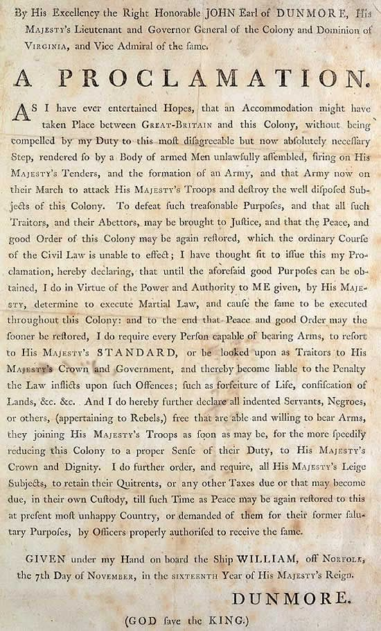 lord dunmore s proclamation to slaves in exchange for their  lord dunmore s proclamation to slaves in exchange for their willingness to fight against the colonists