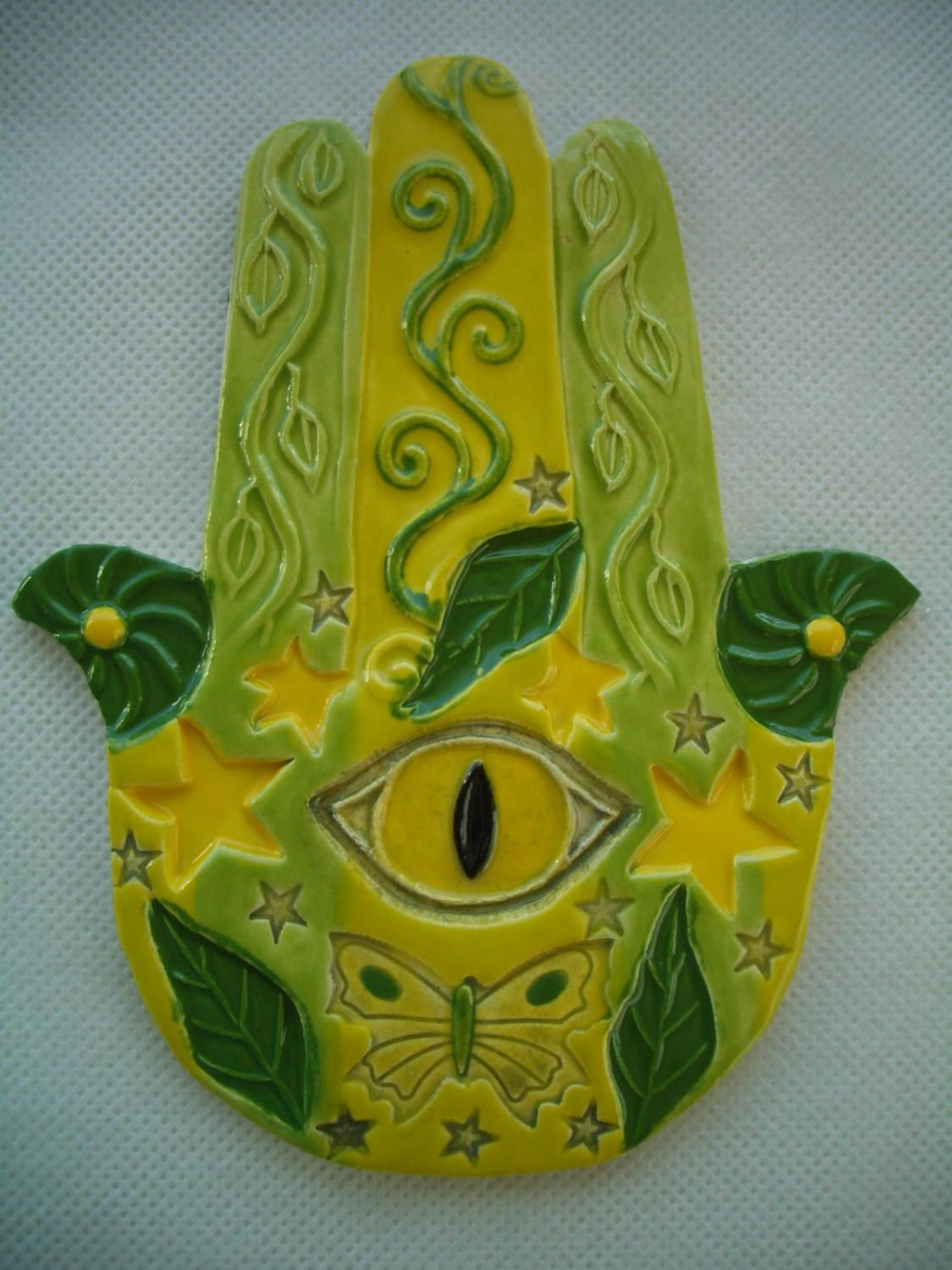 BIRT - HAMSA Hand, Good Luck, Protection - Ceramic Mosaic Tiles by TinkerTiles on Etsy