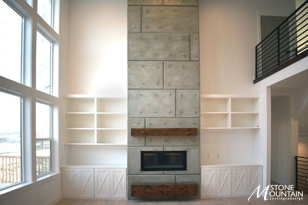 Contemporary Panel Wall Fireplace Surround Precast Stone Concrete Panel Wall Concrete Fireplace Concrete Wall Panels Concrete Fireplace Fireplace Surrounds