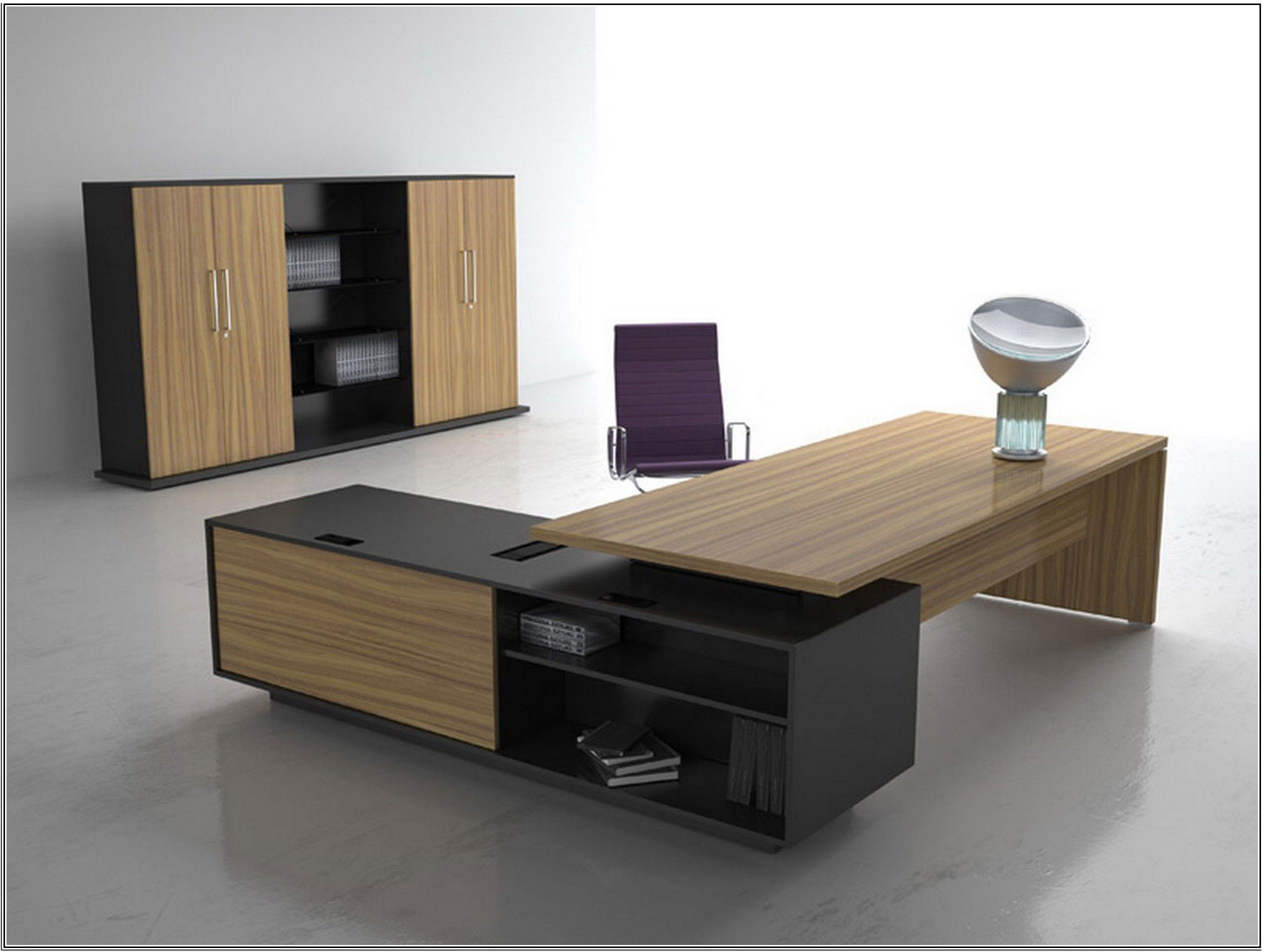 Luxury Modern Home Office Desk Design Idea In Brown And Black With Open Shelves Contemporary Office Furniture Home Office Furniture Design Office Table Design
