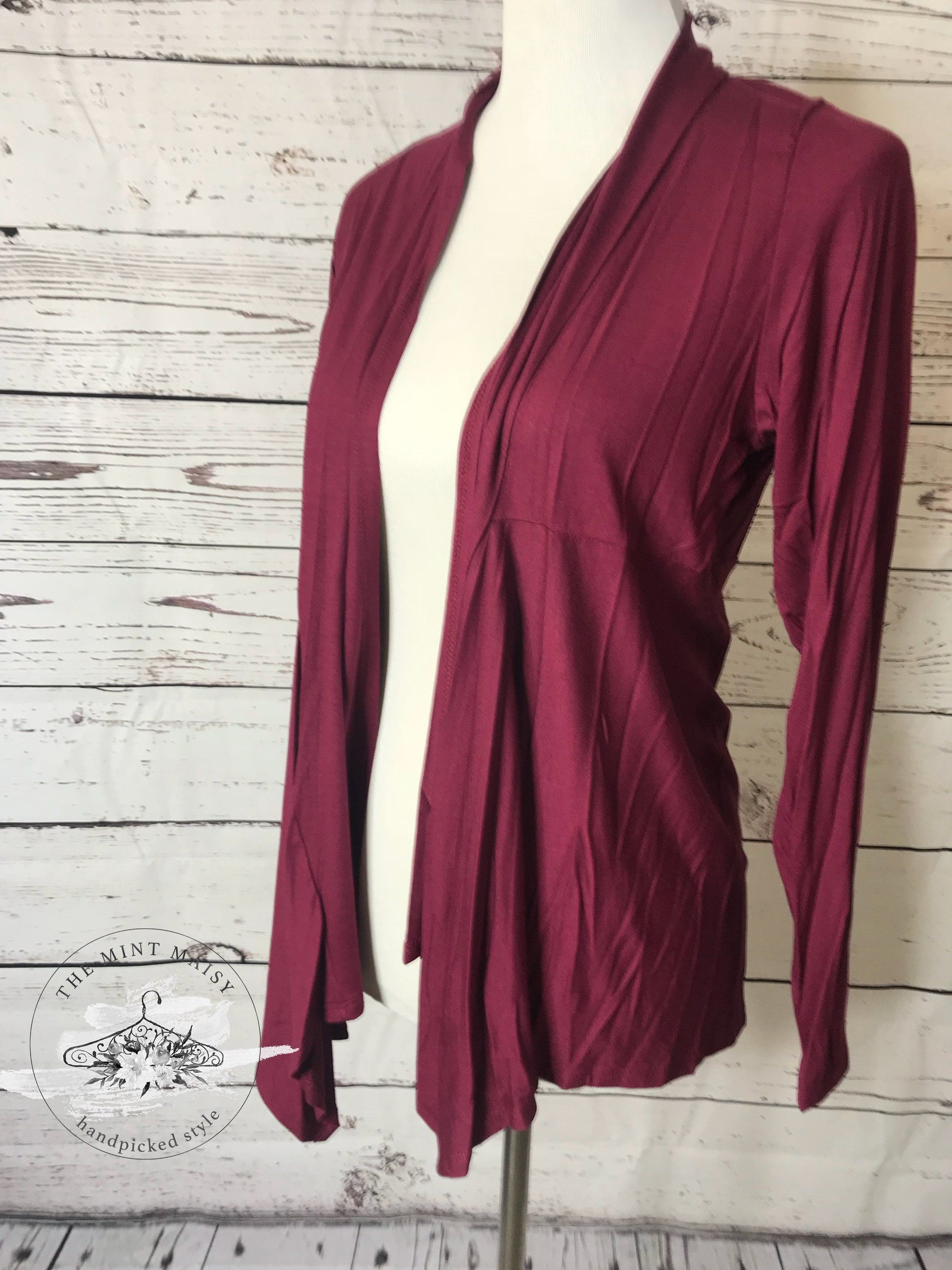 d75a6dcc87 Light weight burgundy light weight cardigan. Perfect for running that  errand or complimenting that one special dress or shirt.Sizing  Recommendation  True to ...