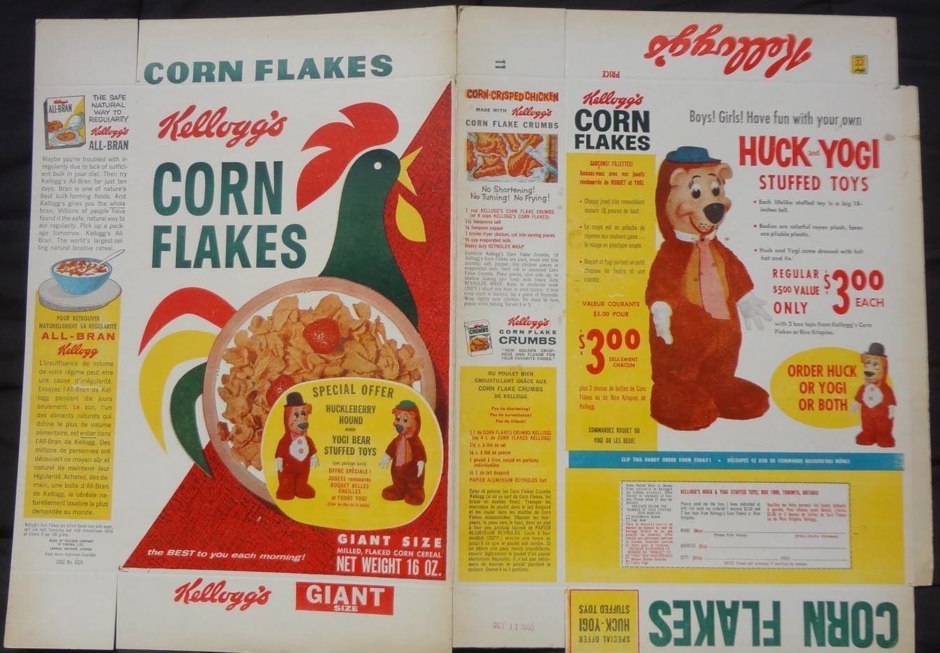 1960 toys images   Corn Flakes cereal box Flat Huckleberry Hound Yogi Bear