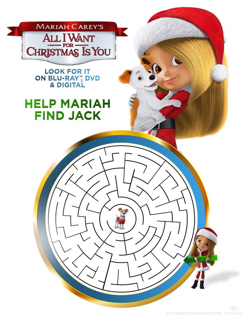 Mariah Carey S All I Want For Christmas Is You Movie And Activity Sheet Printable In The Playroom Christmas Printable Activities Printables Free Kids Mariah Carey