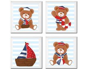 Artes para decoração urso navy