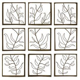 """Bring garden-chic style home with this eye-catching wrought iron wall decor, featuring an openwork vine motif.  Product: 9-Piece wall decor set Construction Material: Wrought iron  Dimensions: 14.75"""" H x 14.5"""" W x 2.5"""" D each"""