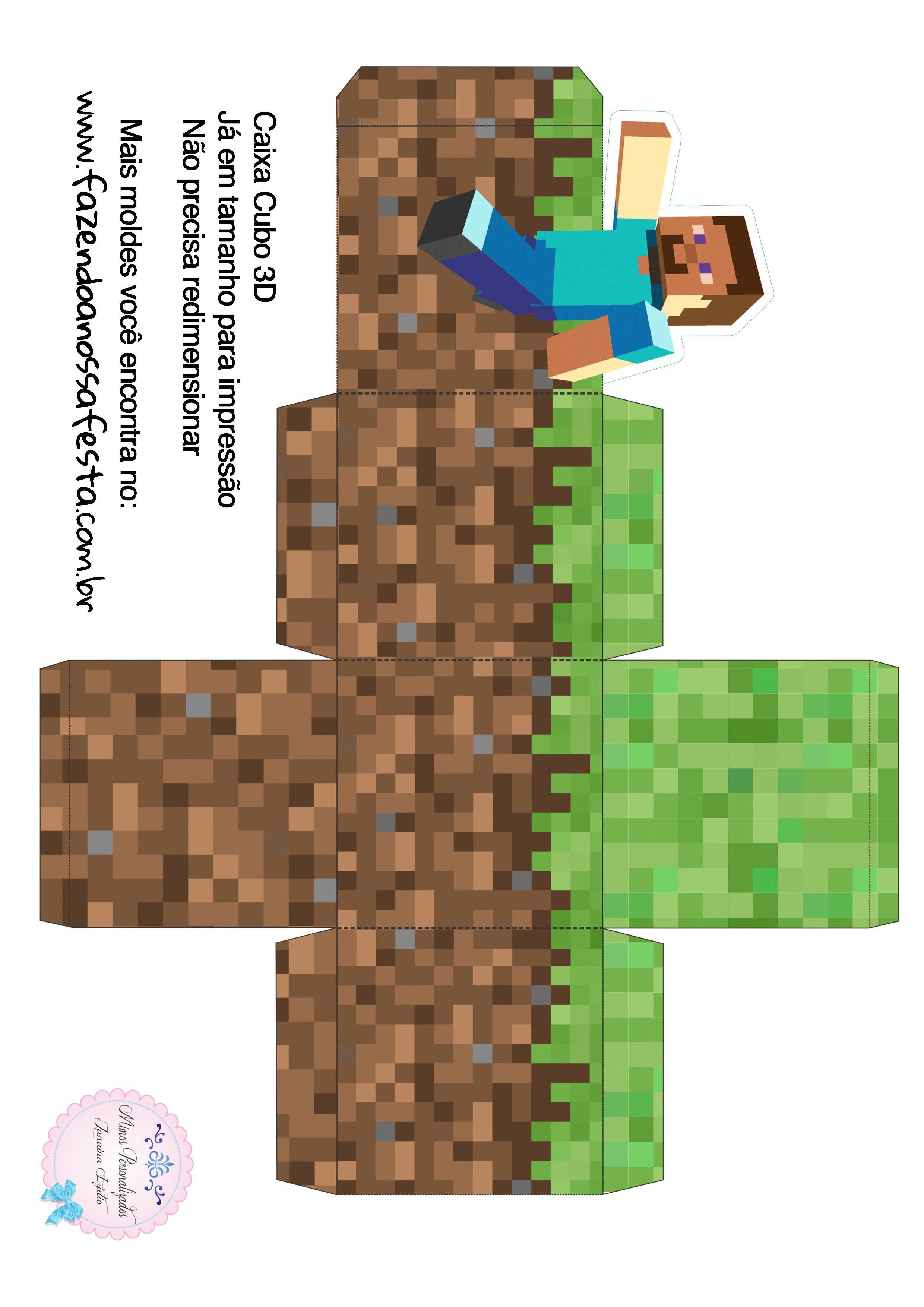 Caixa Cubo 3d Minecraft Minecraft Festa Infantil Minecraft E