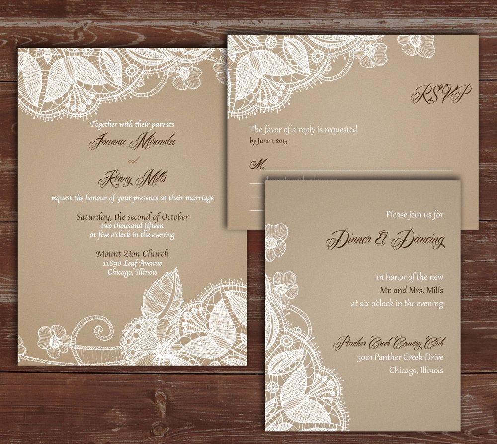 100 Personalized Custom rustic vintage lace Wedding Invitations Set ...