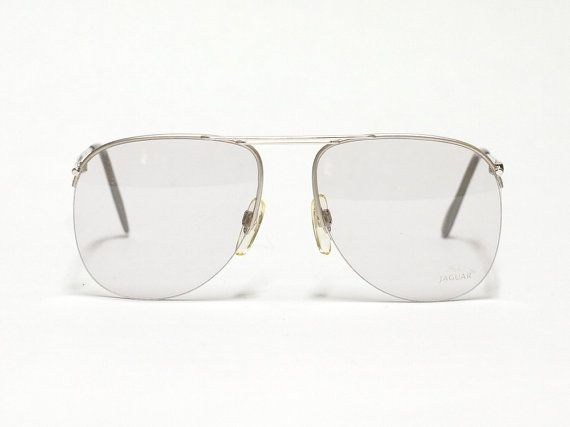 Jaguar vintage eyeglasses - model 355 - 1980s half rimmed aviator glasses - made in Germany - NOS condition