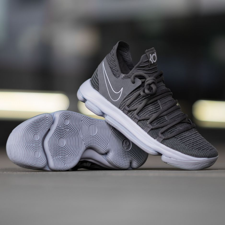 promo code 1f30a 4a111 Kevin Durant s signature shoe. The Nike KD10 in dark grey reflect silver  colorway. Now available at KICKZ.com