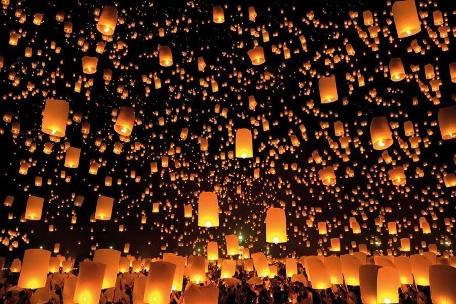 Chinese Lanterns Lighting Sky Custom