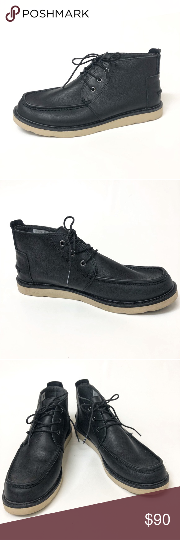 Toms Black Leather Chukka Boots Leather chukka boots