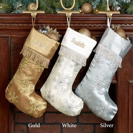 Elegant Snowflake Embroidered Christmas Stockings Embroidery etc