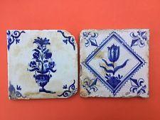 Pair of 17th Century Dutch tin-glazed Delft Tiles c1640 TULIP & FLOWER VASE nr