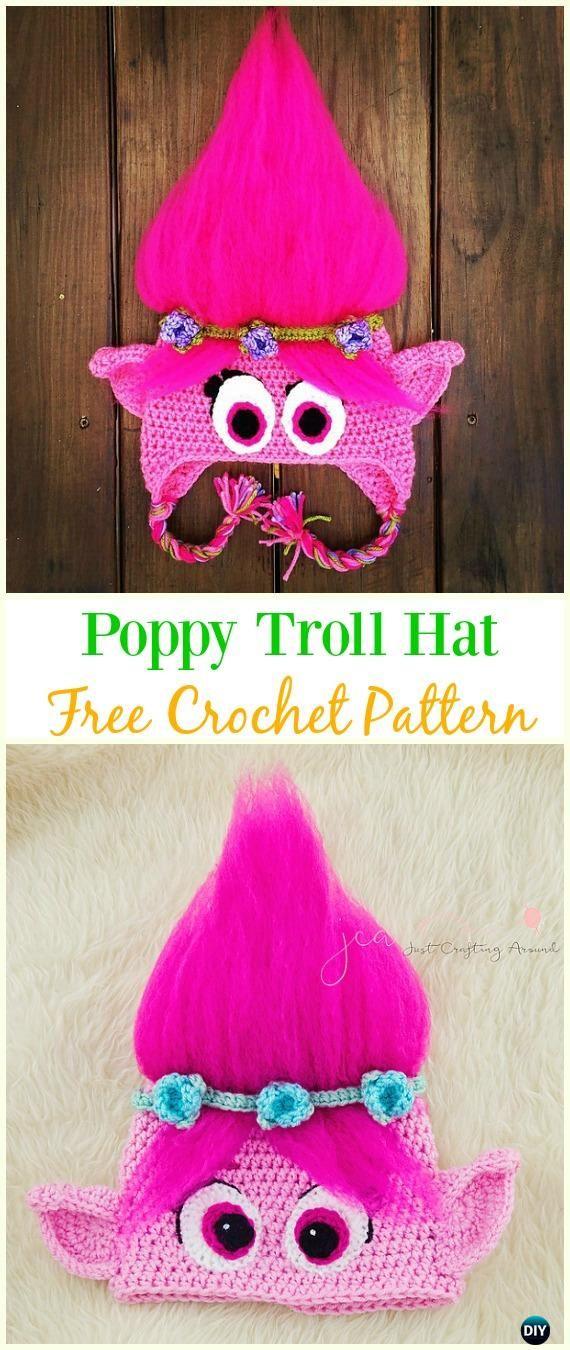 Crochet Poppy Troll Hat Free Pattern - Crochet Ear Flap Hat Free ...