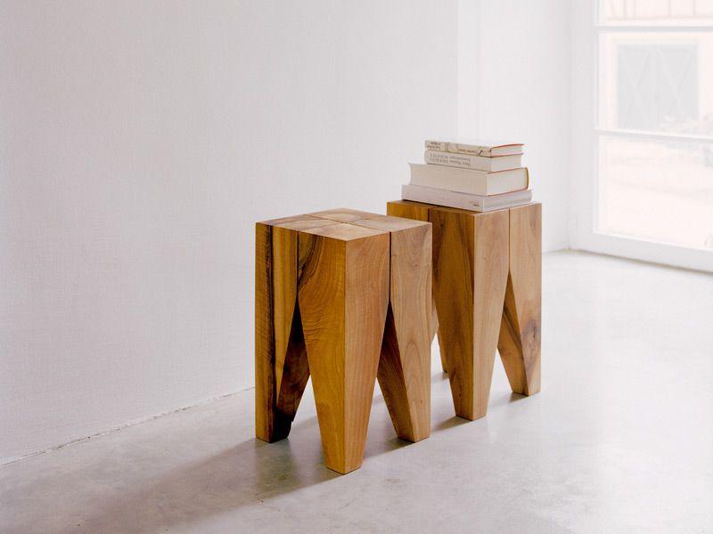 Hocker / Couchtisch Aus Massivem Holz BACKENZAHN™ By E15 Design Philipp  Mainzer