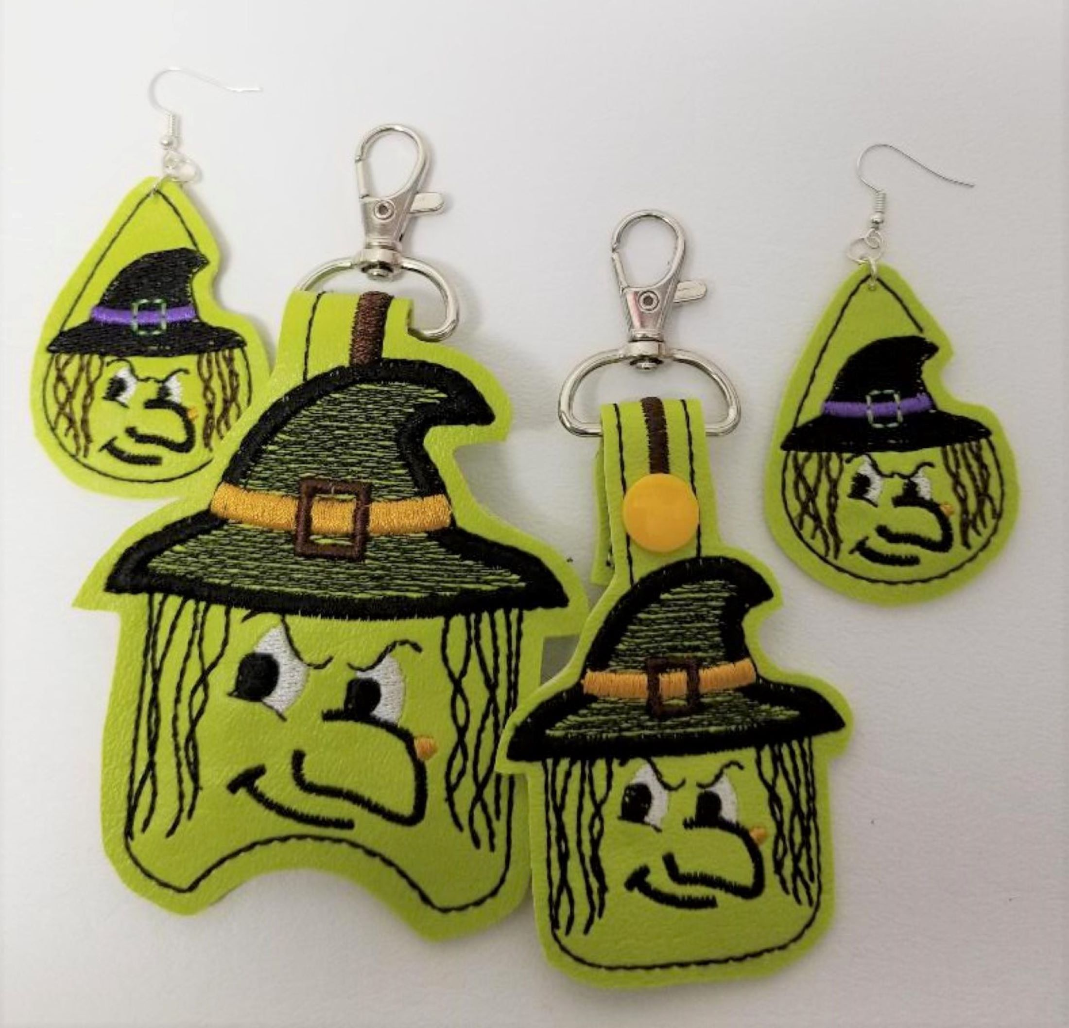 3 Piece Halloween Witch Keychain Earrings And Hand Sanitizer
