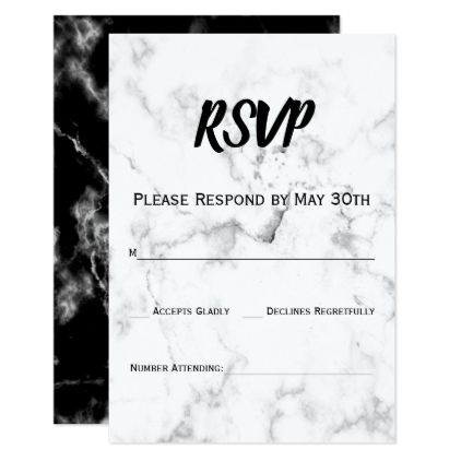 Black  White Marble Stone Wedding RSVP Reply Card Wedding rsvp