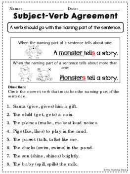 photograph about Subject Verb Agreement Quiz Printable named Matter-Verb Arrangement Teach Sheets Education English