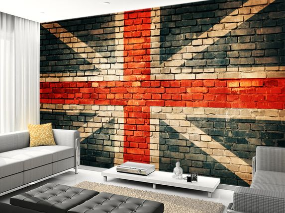 Union Jack On Old Brick Wall Mural Living Room Preview Part 41
