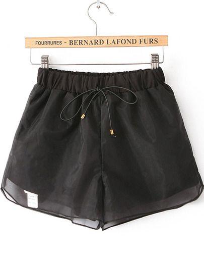 Black Drawstring Elastic Waist Organza Shorts