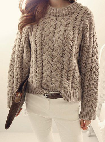 Round Neck Long Sleeves Solid Color Cable-Knit Casual Sweater For ...