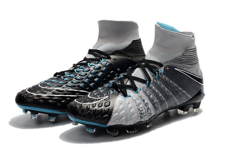 sports shoes b8e49 44cfd Nuevos Tacos de Fubol Nike Hypervenom Phantom III DF FG - Negro Gris Botas,  Fútbol