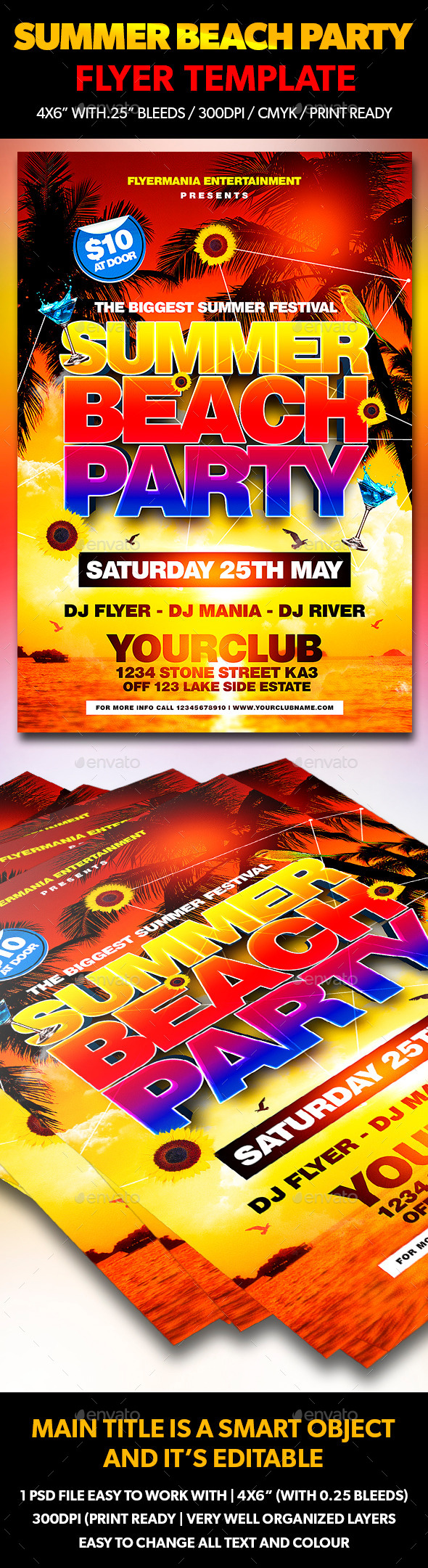 Summer Beach Party Flyer Template  Flyer Template Beach And