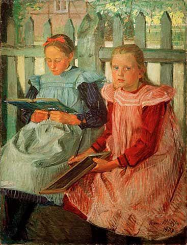 Zwei Mädchen am Gartenzaun by Franz Nölken (1884-1918)