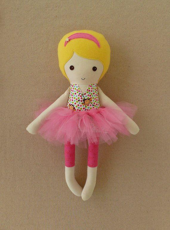 Fabric Doll Rag Doll with Monkey Print Dress and Pink Tutu ...